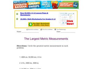 Determining Largest Metric Measurement Worksheet