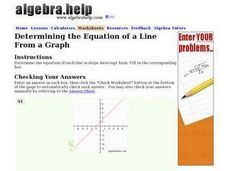 Determining the Equation of a Line From a Graph Worksheet