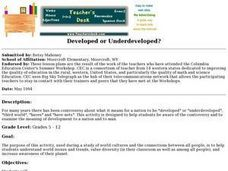Developed or Underdeveloped? Lesson Plan