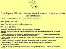 Developing Effective Instructional Plans and Assessments in Mathematics Lesson Plan
