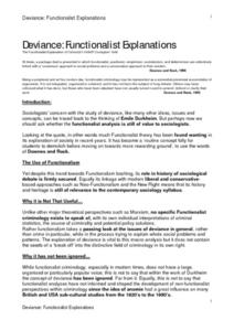 Deviance: Functionalist Explanations Worksheet