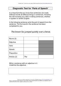 "Diagnostic Test for ""Parts of Speech"" Worksheet"