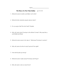 Diary of a Part-Time Indian pp118-134 Worksheet
