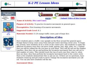 Dice and Cones Lesson Plan