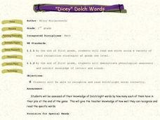 """Dicey"" Dolch Words Lesson Plan"