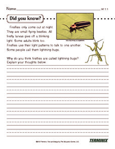 Did You Know... Worksheet