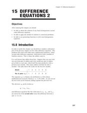 Difference of Equations Worksheet