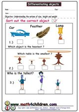 Differentiating Objects Worksheet
