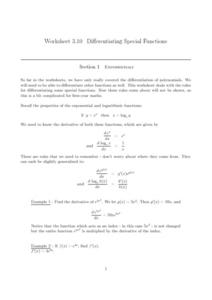 Differentiating Special Functions Worksheet