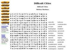 Difficult Cities Worksheet