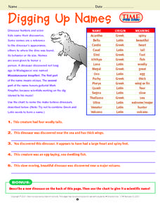 Digging Up Names Lesson Plan