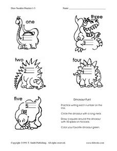 Dino Number Practice 1-5 Worksheet