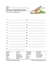 Dinosaur Alphabetizing Worksheet Worksheet