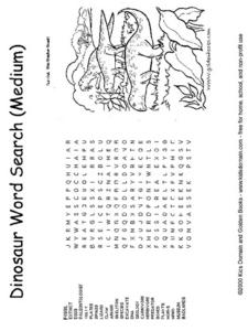 Dinosaur Word Search-- Medium Worksheet