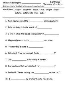 Diphthongs - The Sound of AU Worksheet