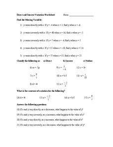 Printables Worksheet On Inverse Variation direct and inverse variation worksheet 8th 11th grade worksheet