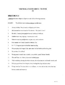 Direct Objects Worksheet