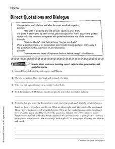 Direct Quotations and Dialogue Worksheet