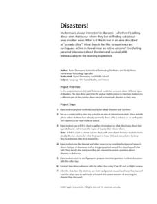 Disaters! Lesson Plan