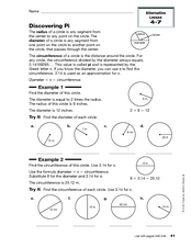 discovering pi 4th 6th grade worksheet lesson planet. Black Bedroom Furniture Sets. Home Design Ideas