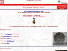 Discovery of Australia Worksheet