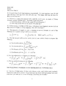 Discussion Sheet 6:  Exponential Growth Worksheet