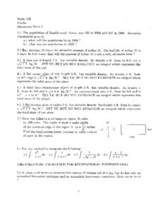 Discussion Sheet 7:  Exponential Growth Worksheet