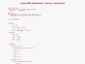 Displacement, Velocity, Acceleration Lesson Plan