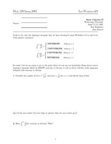 Divergence and Convergence Worksheet