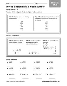 Divide a Decimal By a Whole Number - Reteach 14.4 Worksheet