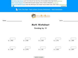 Divide by 11: Worksheet 10 Worksheet