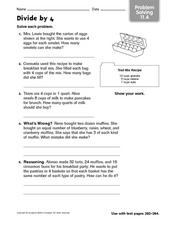 Divide by 4 - Problem Solving Worksheet