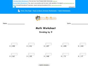Divide by 9: Worksheet 2 Worksheet