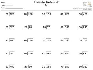 Divide by Factors of Ten Worksheet