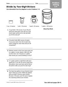 Divide by Two-Digit Divisors - Problem Solving 2.4 Worksheet