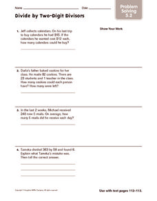 Divide by Two-Digit Divisors: Problem Solving Worksheet