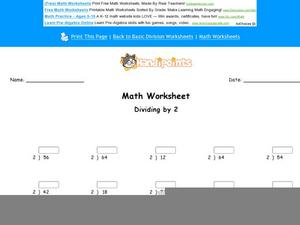 Divide By Two Worksheet