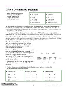 Divide Decimals by Decimals Worksheet