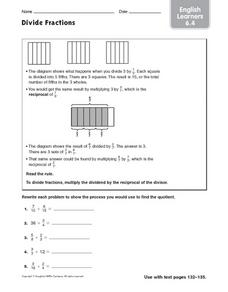 Divide Fractions - English Learners 6.4 Worksheet