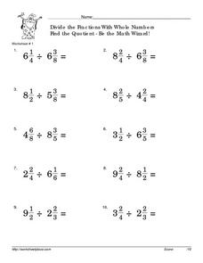 Divide the Fractions With Whole Numbers: Find the Quotient Worksheet