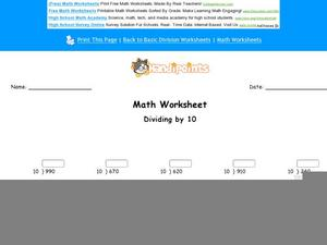 Dividing by 10: Part 10 Worksheet