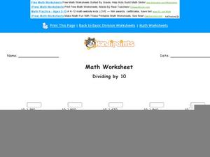 Dividing by 10: Part 7 Worksheet
