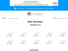 Dividing by 12: Part 9 Worksheet