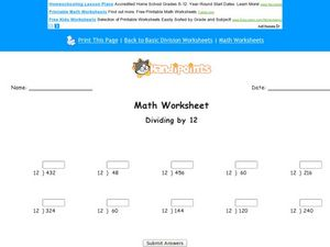 Dividing by 12 Worksheet