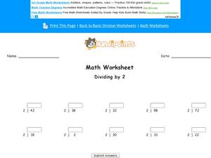 Dividing by 2 Worksheet