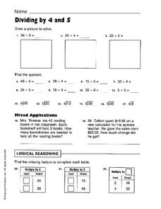 Dividing by 4 and 5 Worksheet
