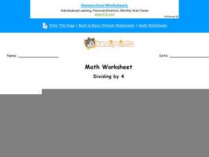 Dividing by 4: Part 4 Worksheet