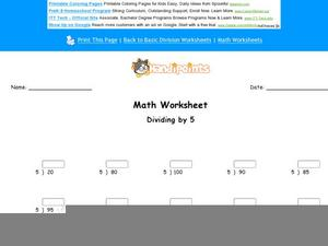 Dividing by 5: Part 1 Worksheet