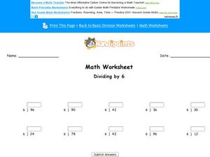 Dividing by 6: Worksheet 3 Worksheet