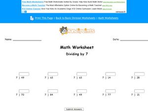 Dividing by 7 Worksheet
